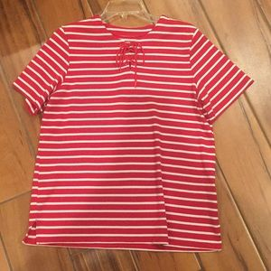 Allison Daley stripe lace up top